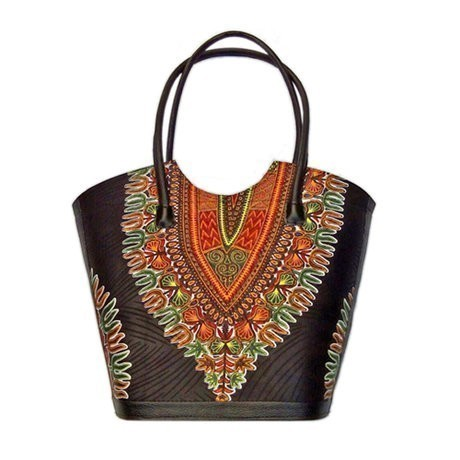 Dashiki leather and fabric Tote bag