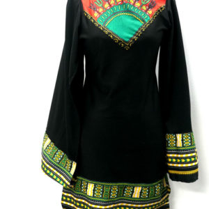 Dashiki Body con dress with slit sleeve (black)