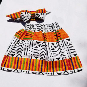Kente animal print skirt set