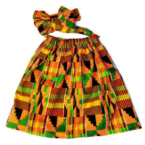 Orange Kente Skirt set